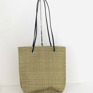 Chilewich Wheat Woven and Leather Straps Tote GUC